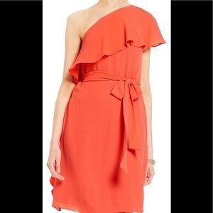Michael Kors Sangria One Shoulder Belted Dress